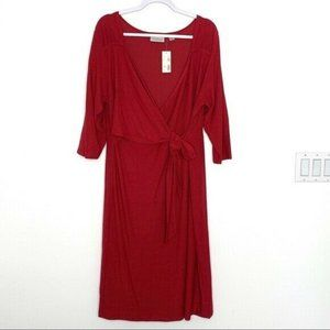 Avenue Red Surplice Tie Front Red Dress NWT Size 18/20
